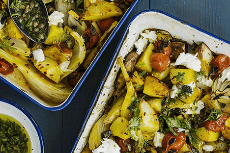 LEMON ROAST VEGETABLES WITH SCAMORZA