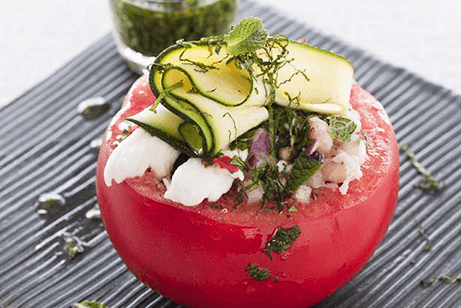 STUFFED TOMATOES WITH CRUSHED BEANS, MOZZARELLA & CHIMICHURRI