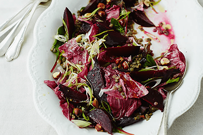 Green lentil, red leaf & beetroot with hazelnuts