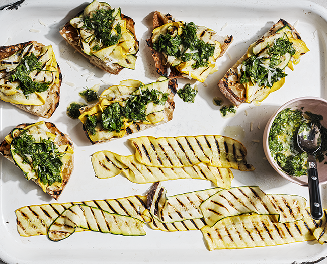Char-grilled courgettes on garlic toast  with parsley relish