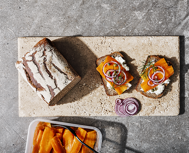 Salt-cured carrot lox on rye