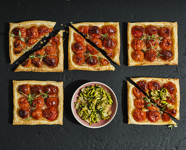 Tomato tarts with preserved lemon relish