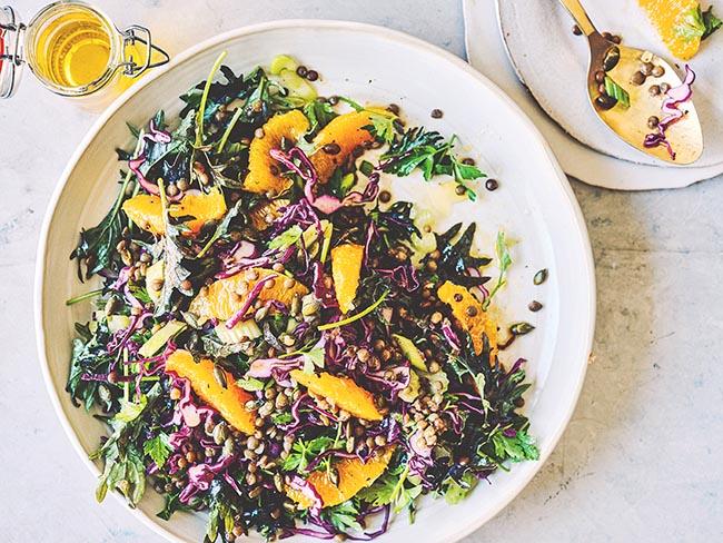 Puy lentil, orange & sunflower seed salad