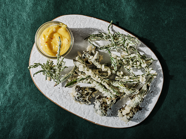 Spring vegetable fritto misto with saffron mayo